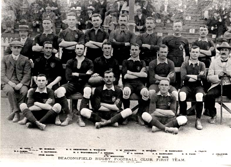 Beaconsfield Rugby Club-Kimberley, E C Smethurst 3rd from left top.