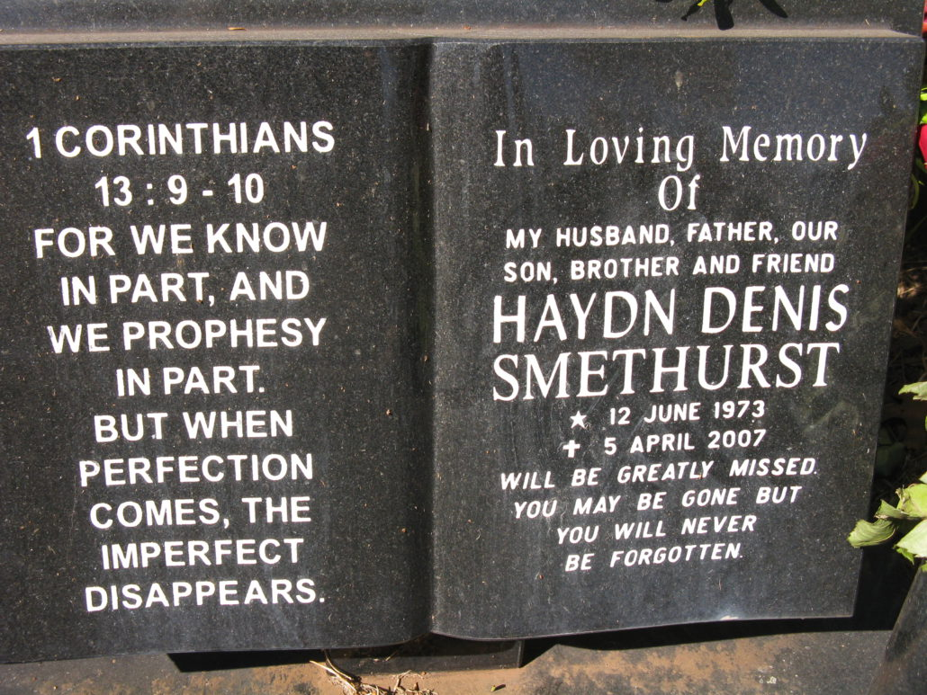 Haydn Smethurst memorial plaque